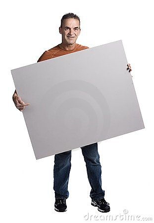 Free Muscular Man With White Panel Royalty Free Stock Photography - 2404187