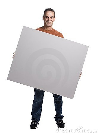 Free Muscular Man With White Panel Royalty Free Stock Photos - 2404188