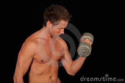 Muscular man working out