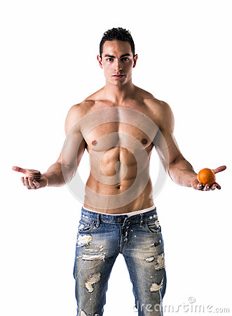 Free Muscular Shirtless Young Man Deciding: Fruit Or Cookies Royalty Free Stock Image - 40762566