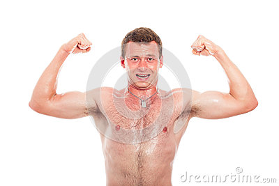 Muscular sports man showing biceps