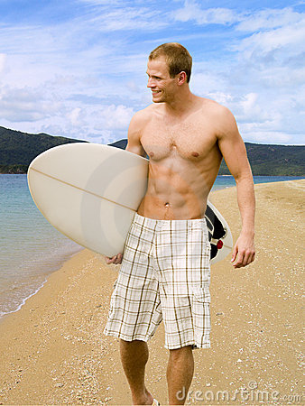 Free Muscular Surfer Dude Royalty Free Stock Photos - 14236988