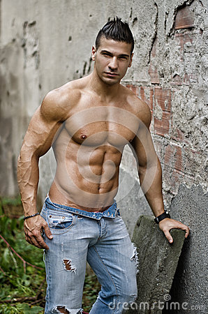 Muscular Young Latino Man Shirtless In Jeans Leaning On Wall Stock Photography Image 35506372