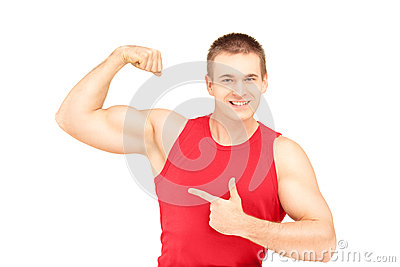Muscular Young Man Showing His Biceps Stock Images - Image: 29396874