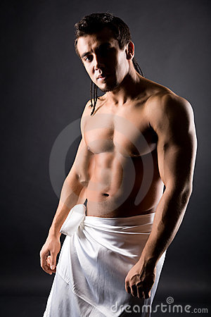 Muscular young naked man