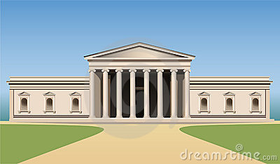 Museum building with columns vector