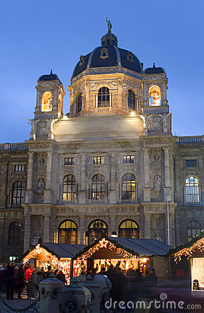 Museum and christmas-market in vienna