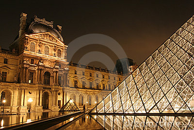 Museum du Louvre in the night Editorial Photography