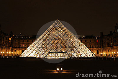 Museum du Louvre night view Paris France Editorial Photography