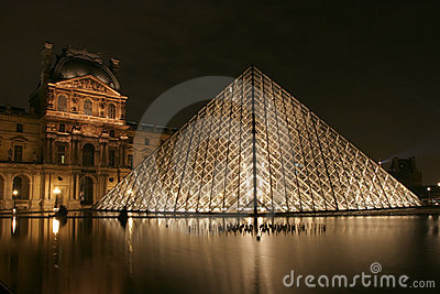 Museum du Louvre in Paris by night Editorial Stock Photo