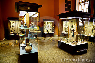 Museum exhibits of ancient relics in glass cases