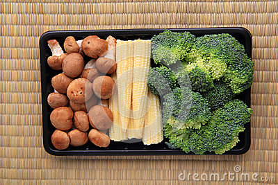 Mushroom babycorn and broccoli in pack