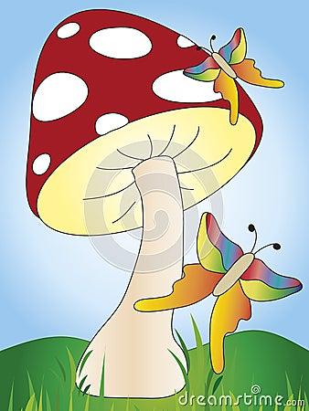 Mushroom and butterflies