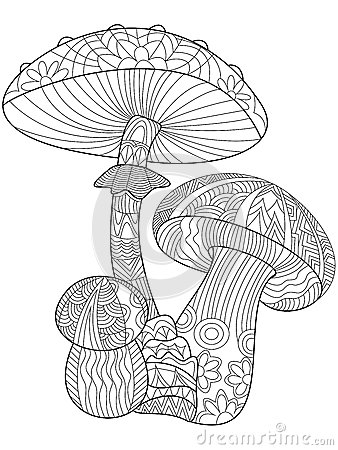 Mushroom Coloring Vector For Adults Stock Vector Image
