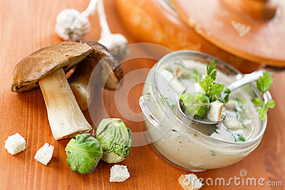 Mushroom cream soup with brussels sprouts
