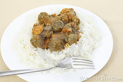 Mushroom curry and rice