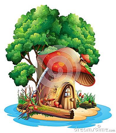 Free Mushroom House On Island Royalty Free Stock Image - 96370256