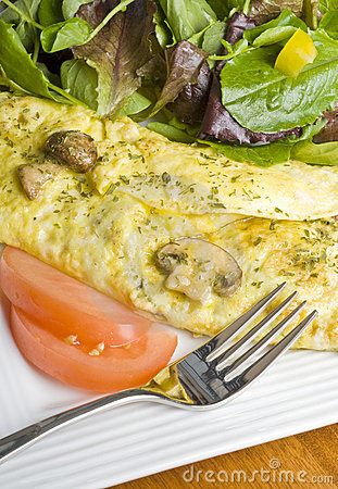 Mushroom Omelet with Green Salad