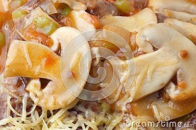 Mushroom pizza closeup
