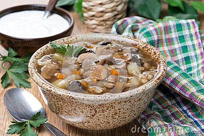 Mushroom soup with pearl barley