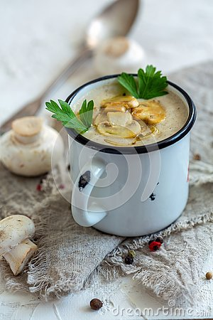 Free Mushroom Soup With Fried Mushrooms And Shallots. Royalty Free Stock Photos - 130793568