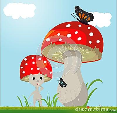 Mushroom whit butterfy