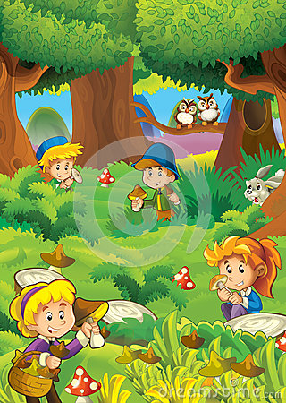 The mushrooming in the wood - illustration for the children