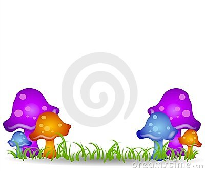 Mushrooms in Field Clip Art 2
