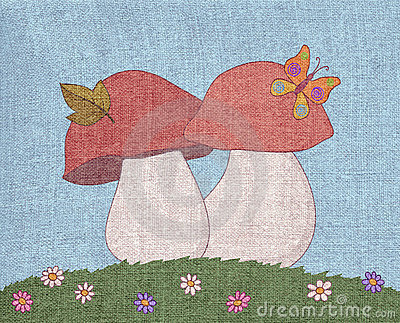 Mushrooms in a meadow, canvas
