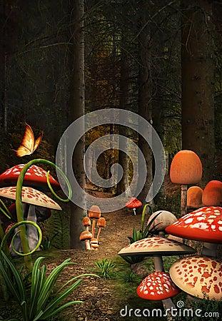 Free Mushrooms Path Royalty Free Stock Images - 32953429