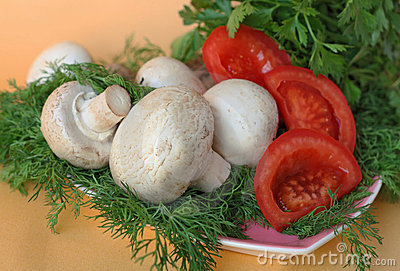 Mushrooms on a platter