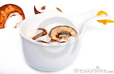 Mushrooms sauce in a white gravy boat