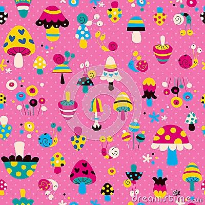 Mushrooms & snails pattern