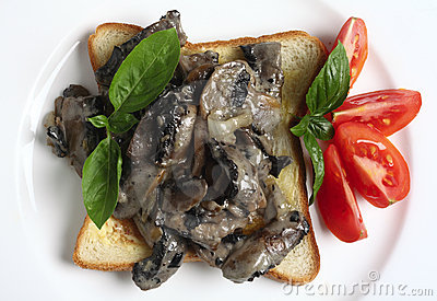 Mushrooms and toast from above