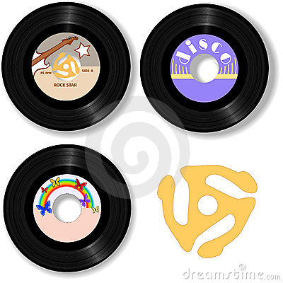 Free Music 45 RPM Oldies Rock Records Spindle Royalty Free Stock Photography - 2899917