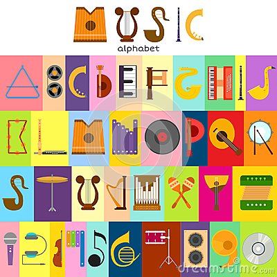 Music alphabet font text symbols musical instrument decorative education notes hand mark calligraphy musician poster Vector Illustration