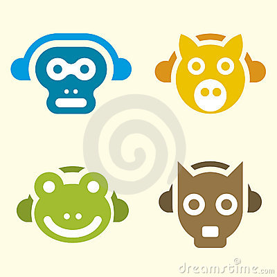 Music animals (vector)