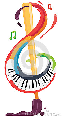 Music and Art brush and piano Vector Illustration
