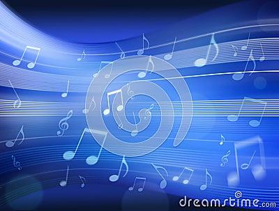Music Notes Background Blue Stock Photo