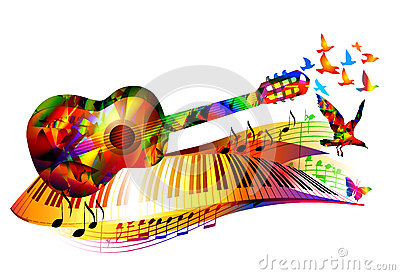 Music background with guitar Vector Illustration