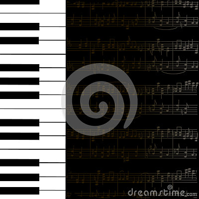 Music background with keyboard and stave notes