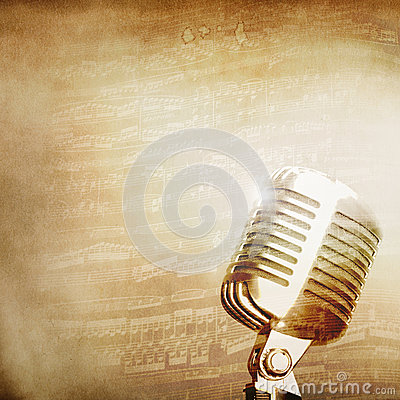 Music background with old mic