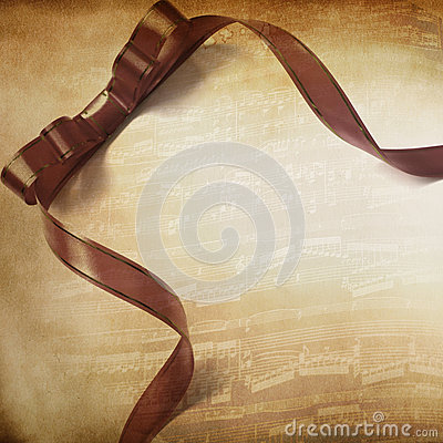 Music background with ribbon
