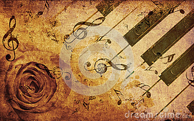 Music background with rose and notes