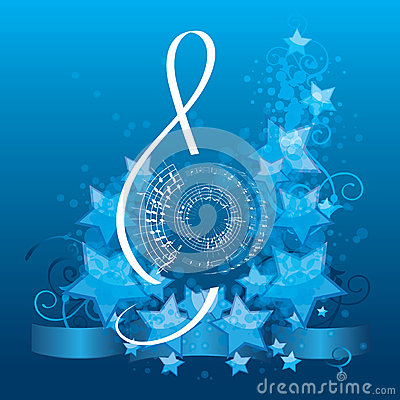 Music background with treble clef
