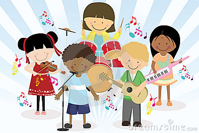 Music band of four little kids