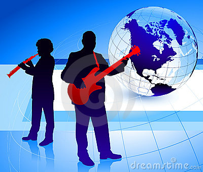 Music Band with Globe Background