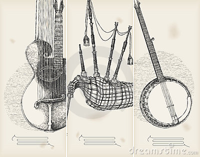 music banners -traditional instruments