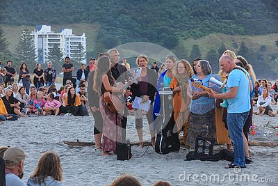 Music at a beach vigil for Christchurch, New Zealand mosque shooting victims Editorial Stock Photo