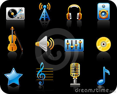 Music black icon set
